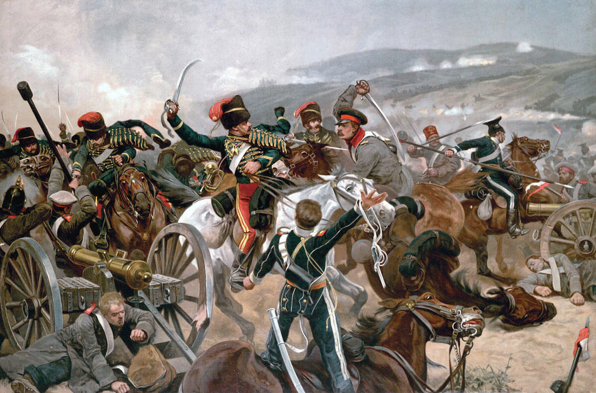 The Relief of the Light Brigade at the Battle of Balaclava on 25th October 1854 in the Crimean War: picture by Richard Caton Woodville