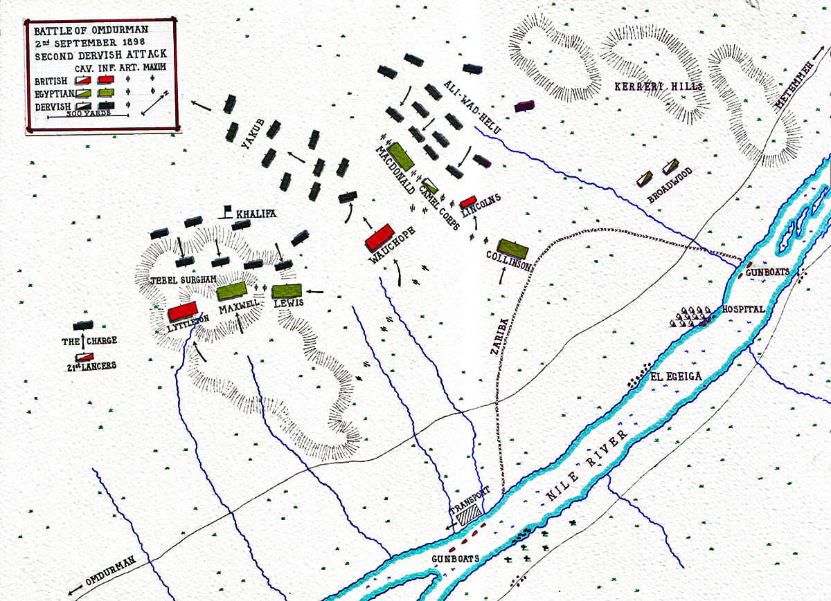 Map showing the second Dervish attack at the Battle of Omdurman on 2nd September 1898: map by John Fawkes