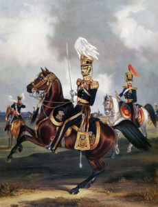 4th Queen's Own Light Dragoons, one of the regiments of the Charge of the Light Brigade at the Battle of Balaclava on 25th October 1854 in the Crimean War: print by Ackermann