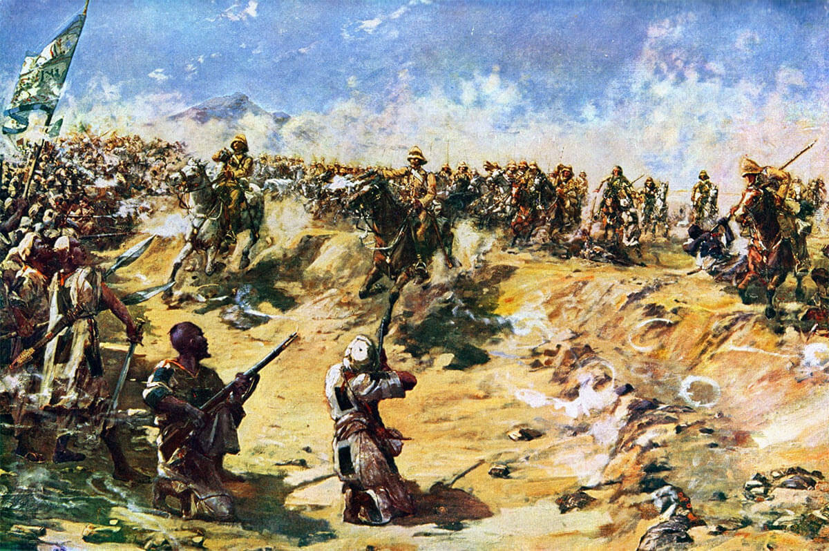 Charge of the 21st Lancers at the Battle of Omdurman on 2nd September 1898 in the Sudanese War: picture by E. Matthew Hale