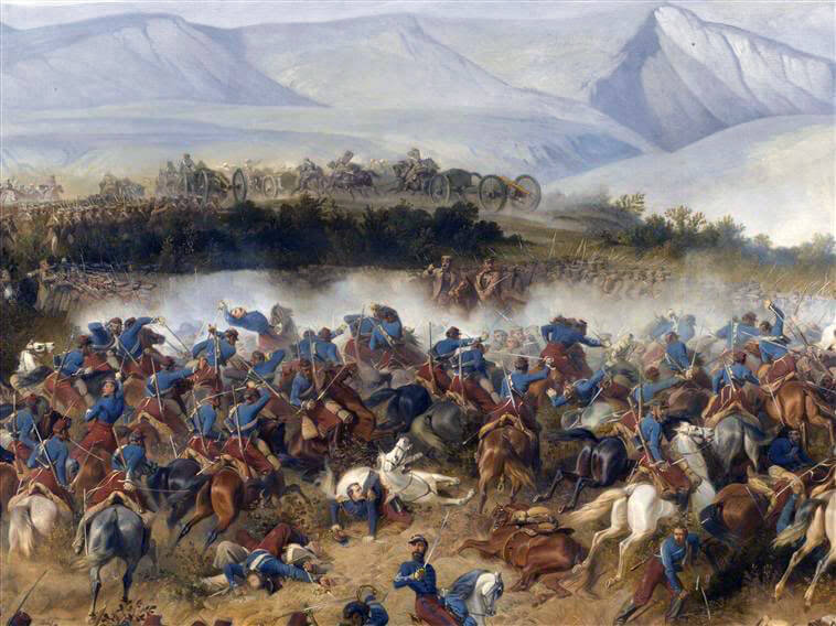 French 4th Chasseurs d'Afrique attacking the Fedioukine Hills at the Battle of Balaclava on 25th October 1854 in the Crimean War