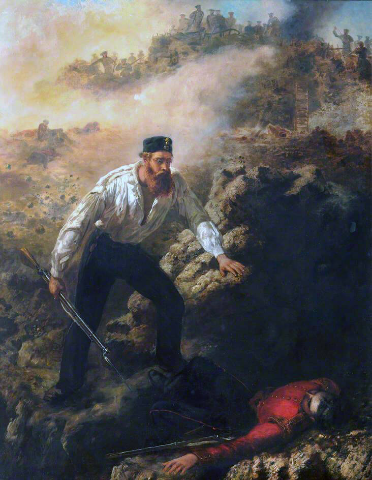 Corporal Robert Shields of the Royal Welch Fusiliers, winning the Victoria Cross on 8th June 1855 at Sevastopol, by bringing in his wounded adjutant Lieutenant Dyneley: picture by Louis Desanges