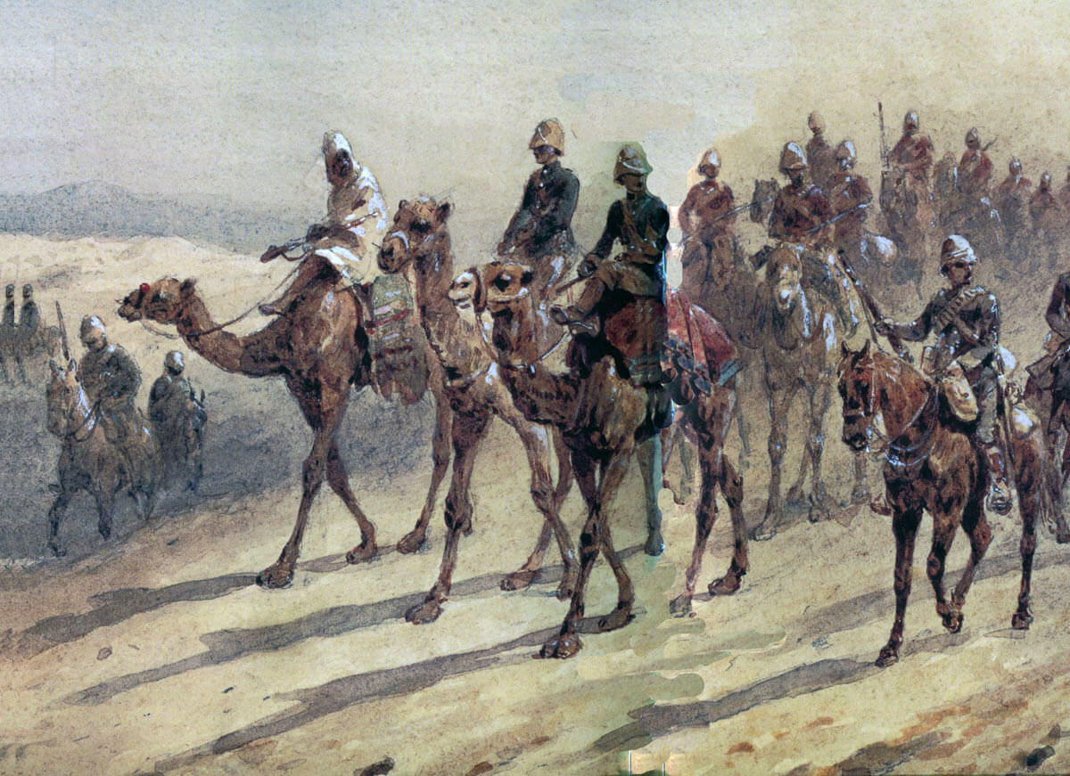 Camel Corps and 19th Hussars crossing the desert: Battle of Abu Klea fought on 17th January 1885 in the Sudanese War: picture by Orlando Norie