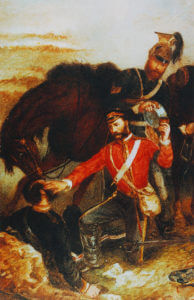 Surgeon General Mouatt winning the Victoria Cross at the Battle of Balaclava on 25th October 1854 in the Crimean War