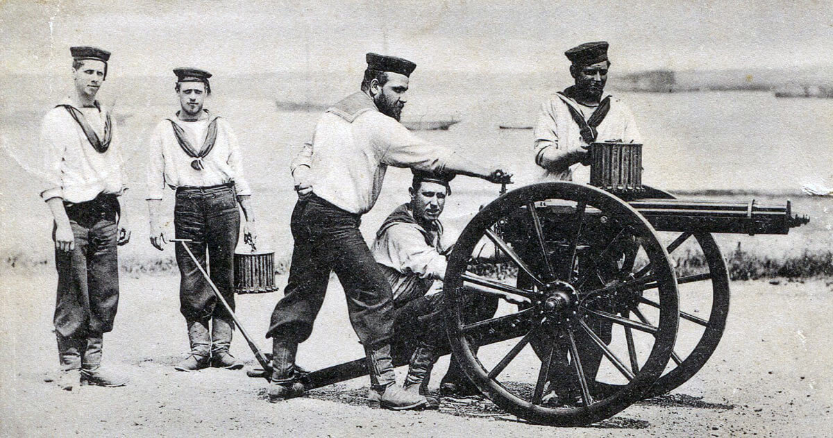 Royal Navy Gatling Gun team: Battle of Abu Klea fought on 17th January 1885 in the Sudanese War