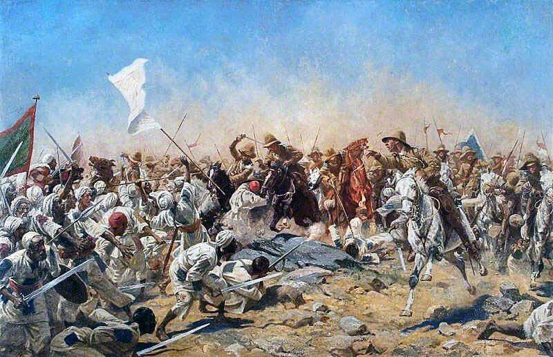 Charge of the 21st Lancers at the Battle of Omdurman on 2nd September 1898 in the Sudanese War: picture by William Barnes Wollen