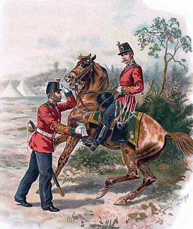 66th Regiment in England before leaving for India: Battle of Maiwand on 26th July 1880 in the Second Afghan War: picture by Harry Payne