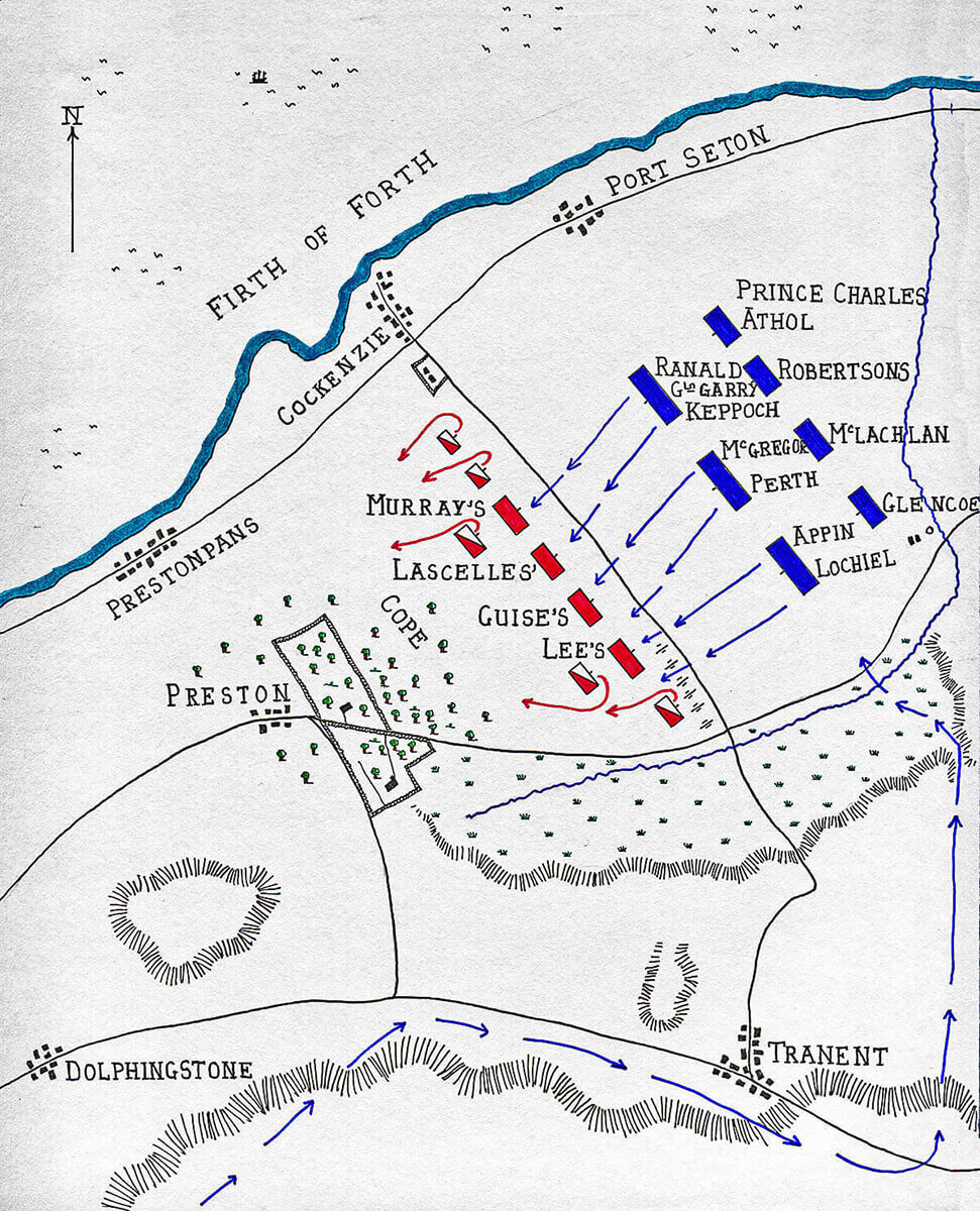 Map of the Battle of Prestonpans on 21st September 1745 in the Jacobite Rebellion by John Fawkes