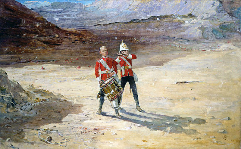 'The Drums of the Fore and Aft': Battle of Ahmed Khel on 19th April 1880 in the Second Afghan War: picture by Edward Matthew Hale