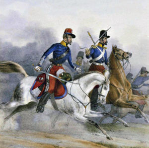 Officers of the French Chasseurs d'Afrique: Battle of Balaclava on 25th October 1854 in the Crimean War