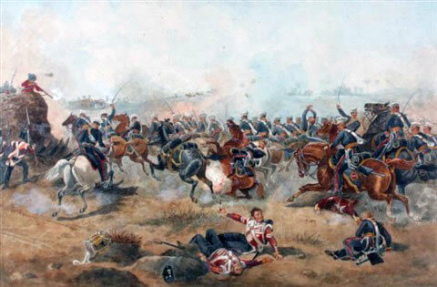 3rd King's Light Dragoons at the Battle of Sobraon on 10th February 1846 during the First Sikh War: picture by Michael Angelo Hayes