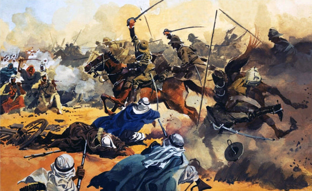 Charge of the 21st Lancers at the Battle of Omdurman on 2nd September 1898 in the Sudanese War: picture by Ferdinando Tacconi