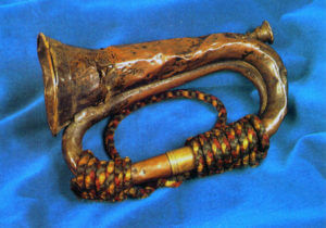 Balaclava bugle carried by Trumpeter William Brittan of the 17th Lancers in the Charge at the Battle of Balaclava on 25th October 1854 in the Crimean War