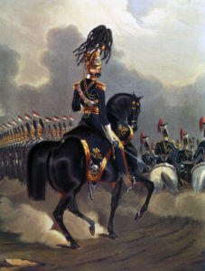 17th Lancers: Battle of Balaclava on 25th October 1854 in the Crimean War: picture by Ackermann