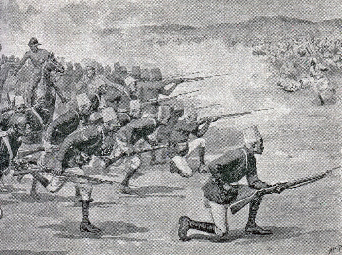 Sudanese troops of Maconald's brigade at the Battle of Omdurman on 2nd September 1898 in the Sudanese War: picture by Henry Marriott Paget