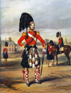 93rd Highlanders: Battle of Balaclava on 25th October 1854 in the Crimean War: picture by Ackermann