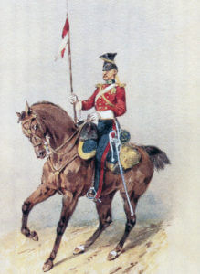 Trooper of HM 16th Lancers: Battle of Aliwal on 28th January 1846 in the First Sikh War: picture by Orlando Norie