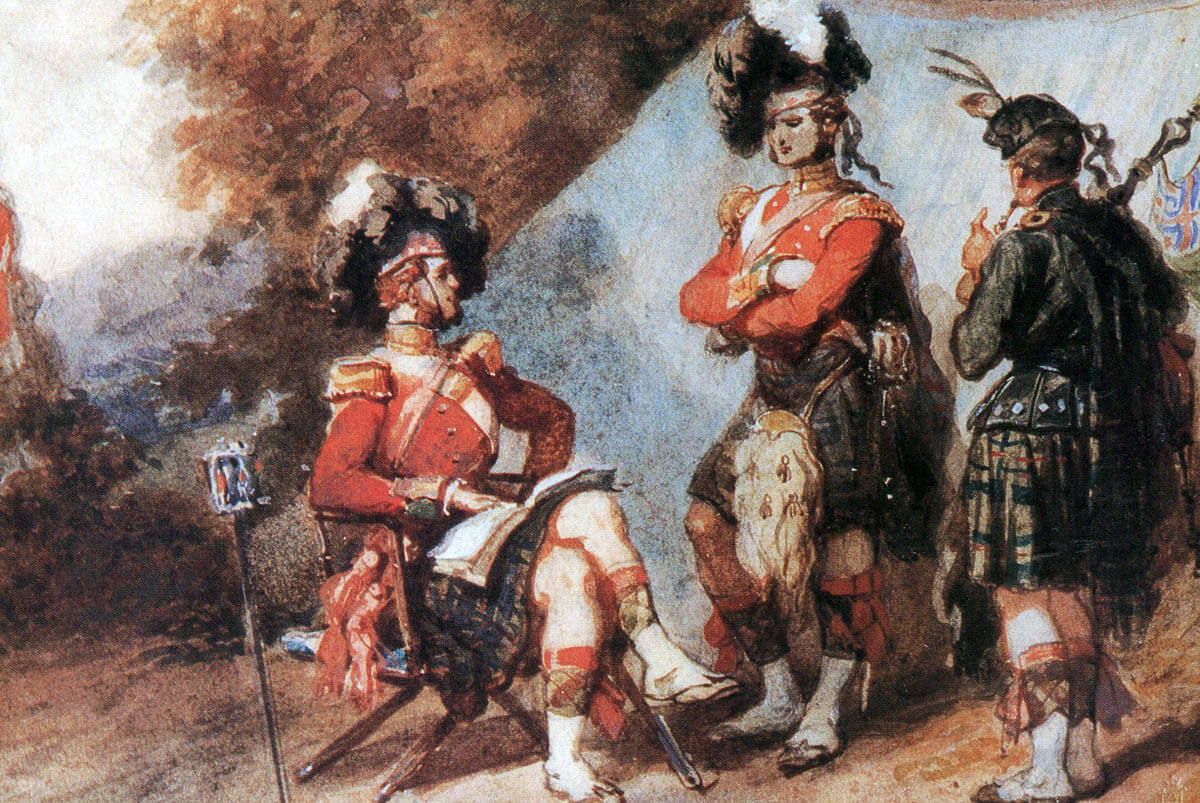 Officer, NCO and piper of the 93rd Highlanders: the Battle of the Alma on 20th September 1854 during the Crimean War