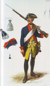 Prussian Infantry Regiment Prinz Ferdinand No 34: Battle of Kesselsdorf on 15th December 1747 in the Second Silesian War: picture by Adolph Menzel