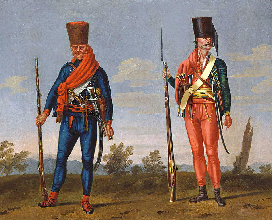 Banalist and Pandour from the Corps of Colonel Trenck: Battle of Soor 30th September 1745 in the Second Silesian War: Picture by David Morier