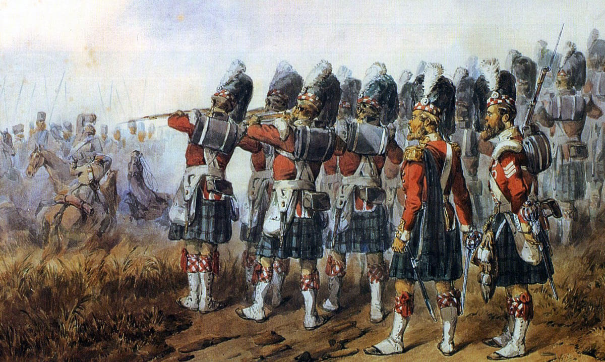 93rd Highlanders, the 'Thin Red Line', at the Battle of Balaclava on 25th October 1854 in the Crimean War