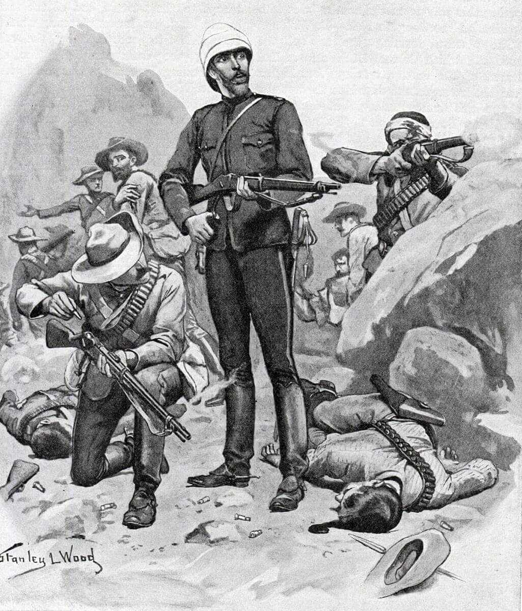 Colonel Buller and his men on Hlobane Mountain: Battle of Khambula on 29th March 1879 in the Zulu War: picture by Stanley Wood