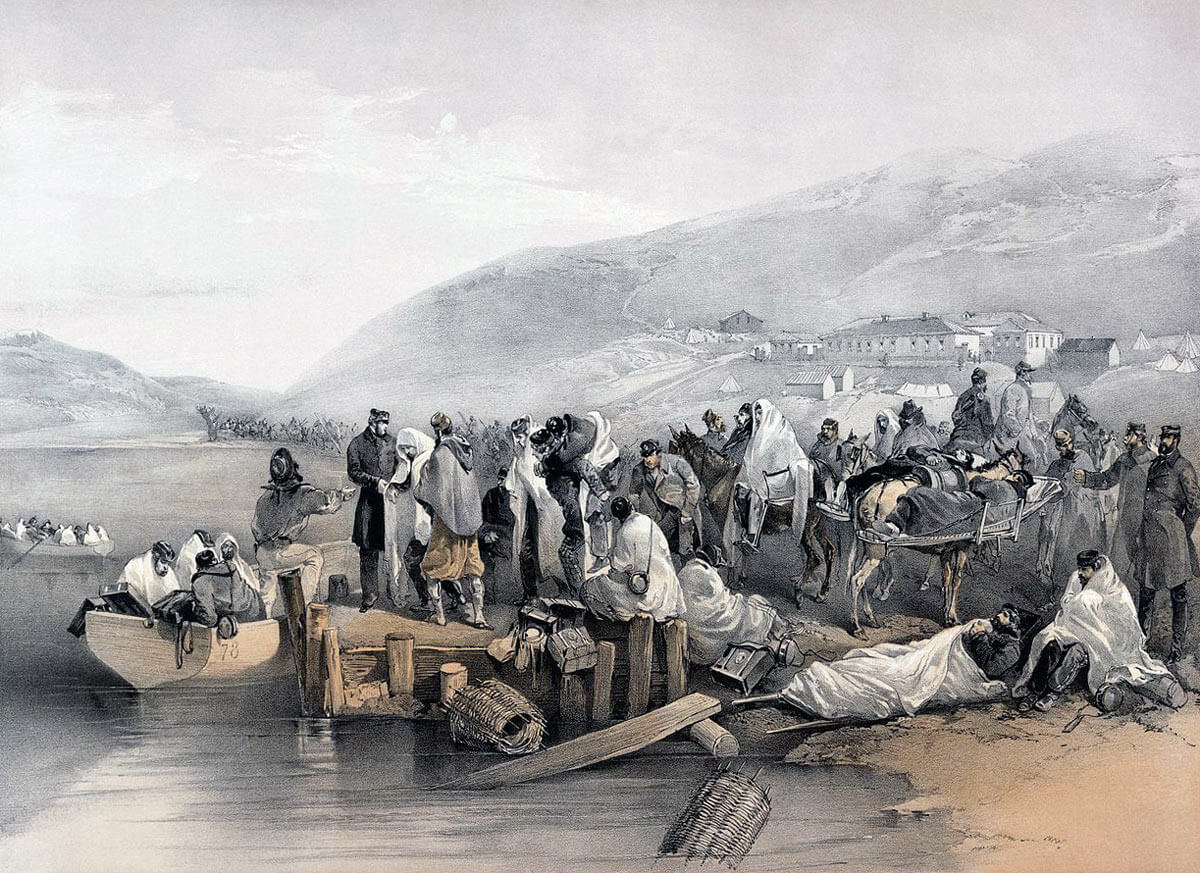 Evacuating British casualties from Balaclava: Siege of Sevastopol September 1854 to September 1855
