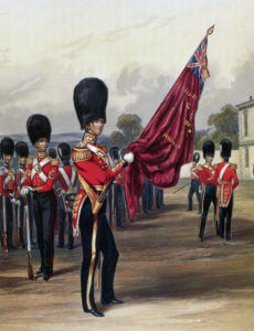 Ensign of the Grenadier Guards: Battle of Inkerman on 5th November 1854 in the Crimean War: print by Ackermann