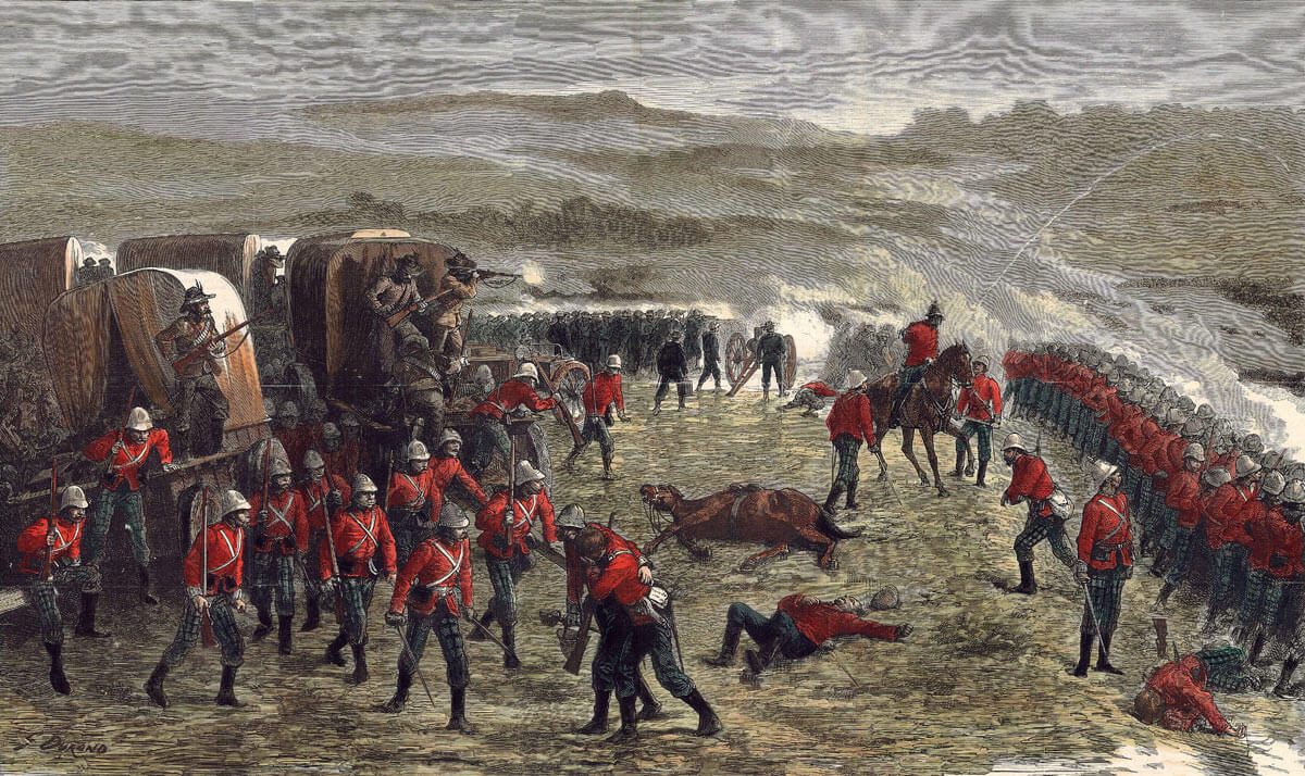 91st Highlanders in the British Square at the Battle of Gingindlovu on 2nd April 1879 in the Zulu War with the 60th Rifles in the background and a Gatling Gun and Rocket Trough in the corner of the Square