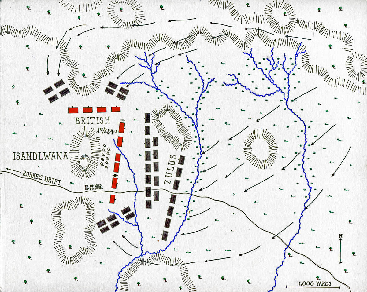 Map of the Battle of Isandlwana on 22nd January 1879 in the Zulu War: map by John Fawkes