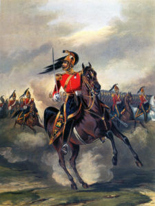 6th Inniskilling Dragoons: Charge of the Heavy Brigade at the Battle of Balaclava on 25th October 1854 in the Crimean War: picture by Ackermann