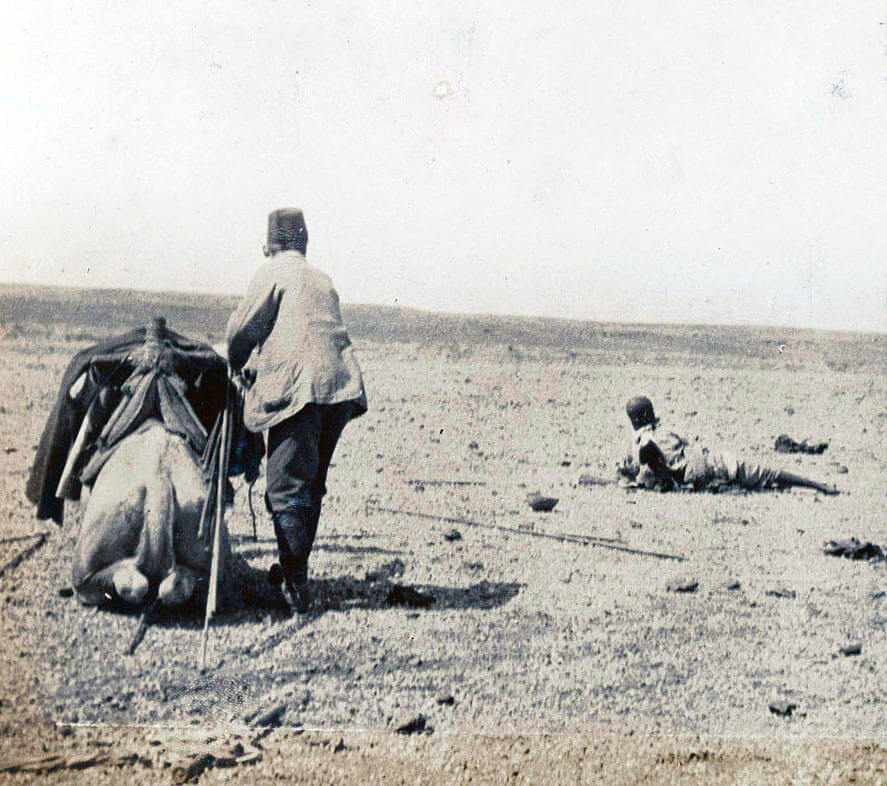 Bringing assistance to a wounded Dervish after the Battle of Omdurman on 2nd September 1898 in the Sudanese War