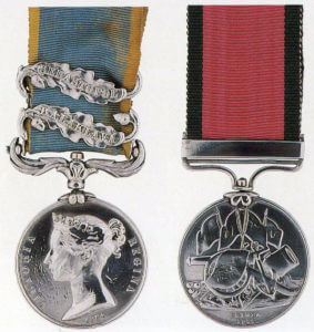 British Crimean War Medal 1854 to 1856 with clasps for Balaclava and Sevastopol and the Turkish Crimean War Medal: Battle of Balaclava on 25th October 1854 in the Crimean War