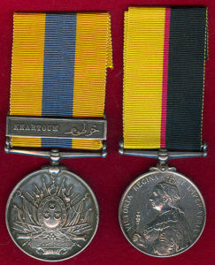Queen's Sudan Medal 1896-1898 and the Khedive's Sudan Medal 1896-1908, with the clasp on the Khedive's medal of 'Khartoum'