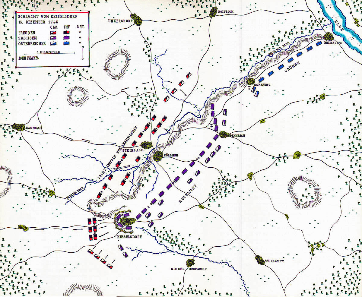 Map of the Battle of Kesselsdorf 15th December 1747 in the Second Silesian War: map by John Fawkes