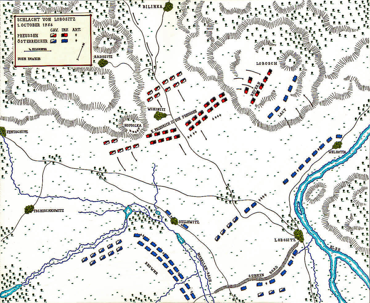 Map of the Battle of Lobositz on 1st October 1756 in the Seven Years War: map by John Fawkes