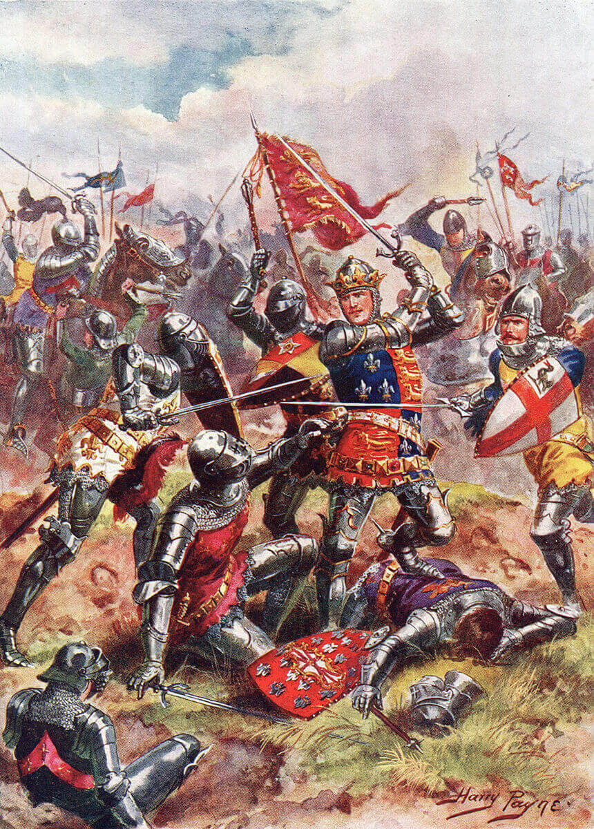 King Henry V at the Battle of Agincourt on 25th October 1415 in the Hundred Years War: picture by Harry Payne