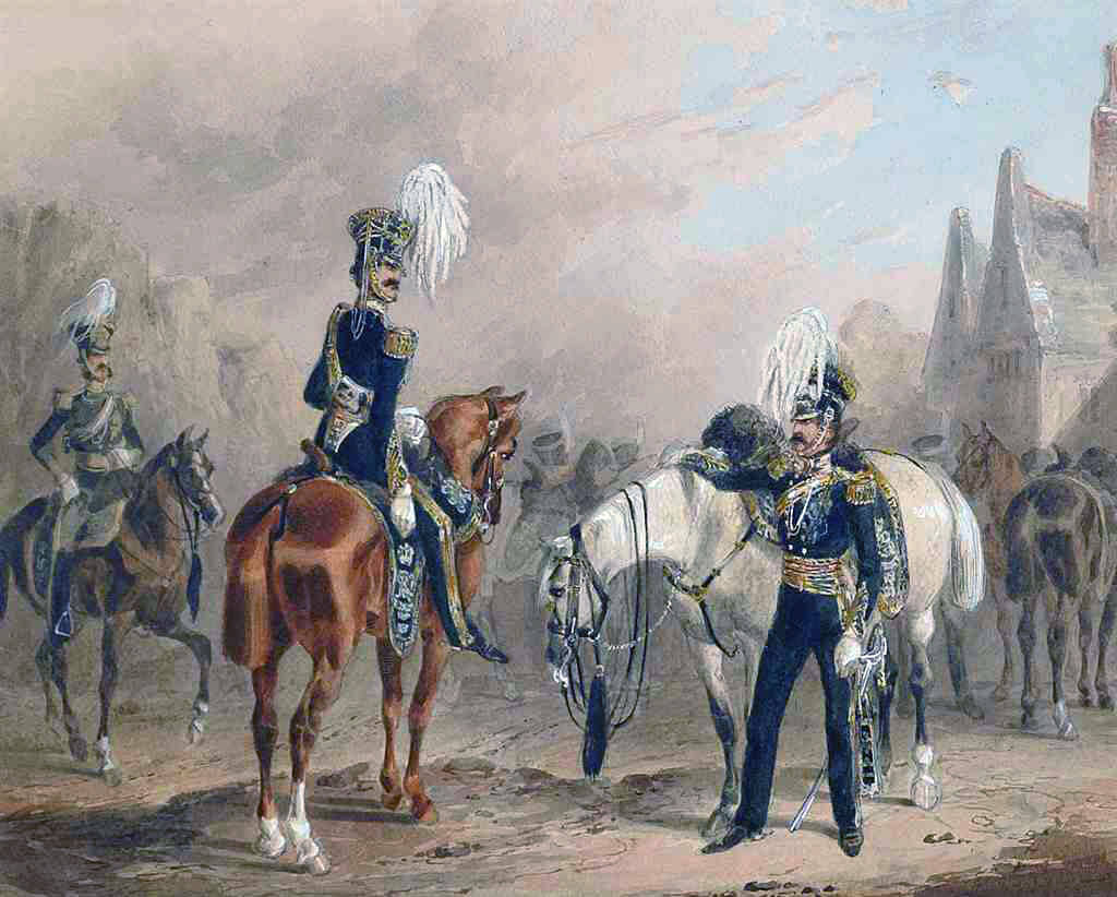 13th Light Dragoons: Battle of Balaclava on 15th October 1854 in the Crimean War: picture by Michael Angelo Hayes