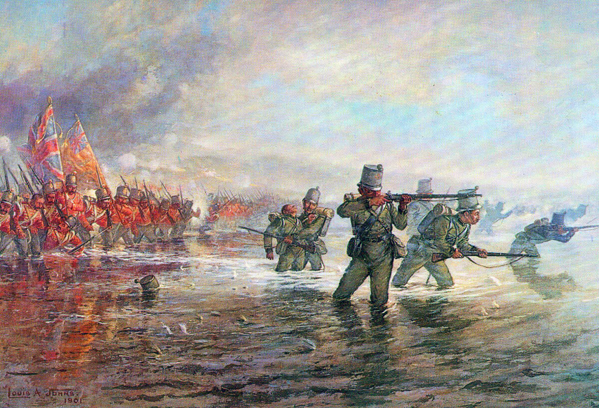 2nd Rifle Brigade leading the Light Division across the river at the Battle of the Alma on 20th September 1854 during the Crimean War: picture by Louis Johns