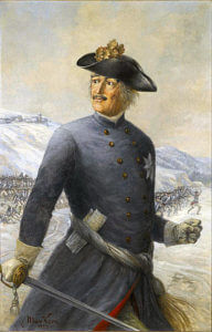 Leopold Prince of Anhalt-Dessau, the 'Old Dessauer': Battle of Kesselsdorf on 15th December 1747 in the Second Silesian War: picture by Max Korn