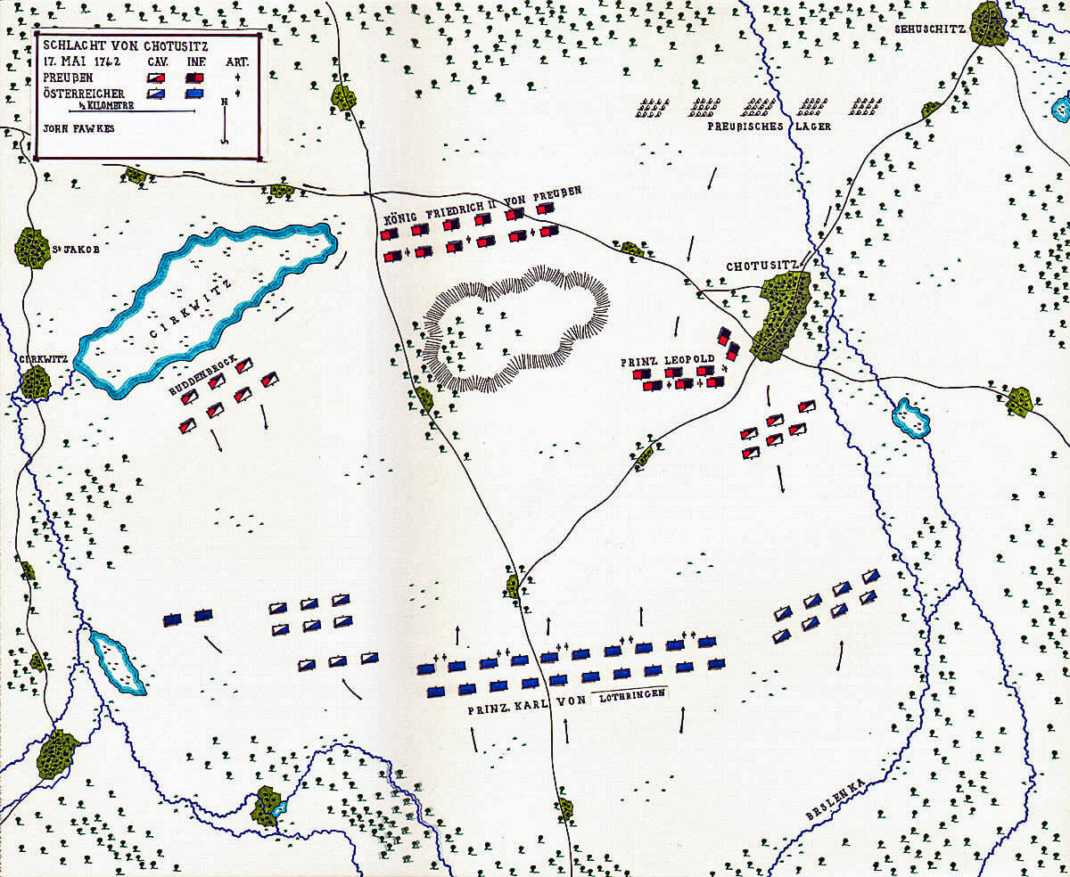 Map of the Battle of Chotusitz 17th May 1742 in the First Silesian War: map by John Fawkes