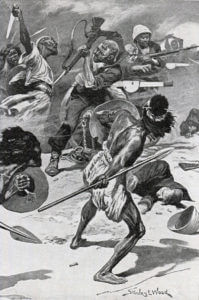 Battle of Abu Klea fought on 17th January 1885 in the Sudanese War: print by Stanley L. Wood