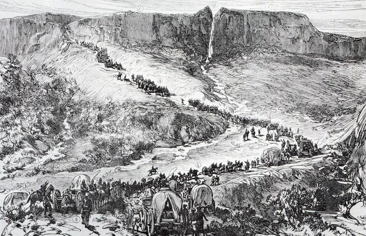 Number Three (Centre) Column on the march in Zululand: Battle of Isandlwana on 22nd January 1879 in the Zulu War