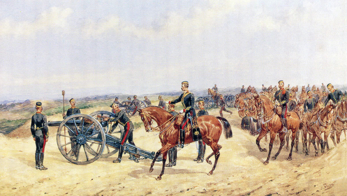 Royal Horse Artillery on exercise in England: Battle of Maiwand on 26th July 1880 in the Second Afghan War: picture by Orlando Norie