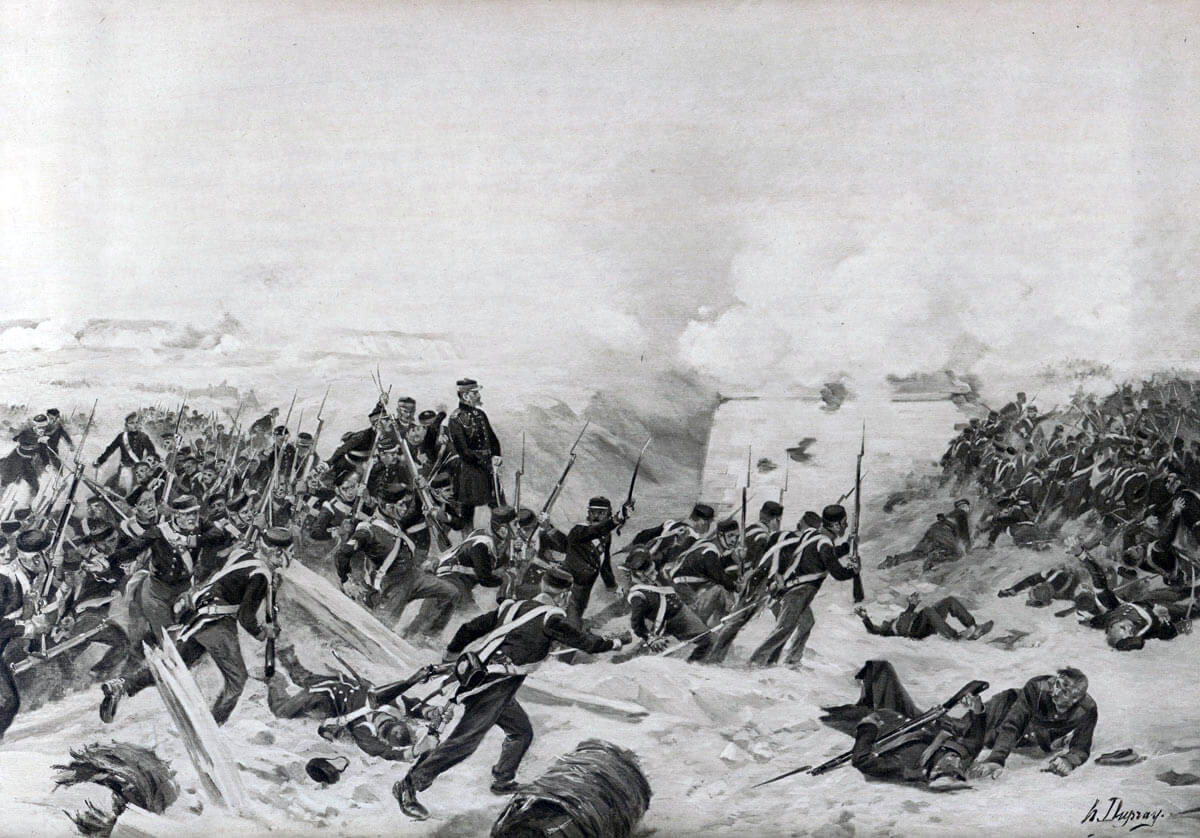 British troops storming the Redan: Siege of Sevastopol September 1854 to September 1855: picture by Henri Dupray