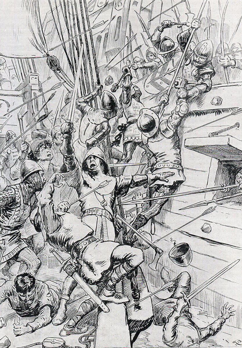 English men-at-arms boarding a French ship at the Battle of Sluys on 24th June 1340 in the Hundred Years War