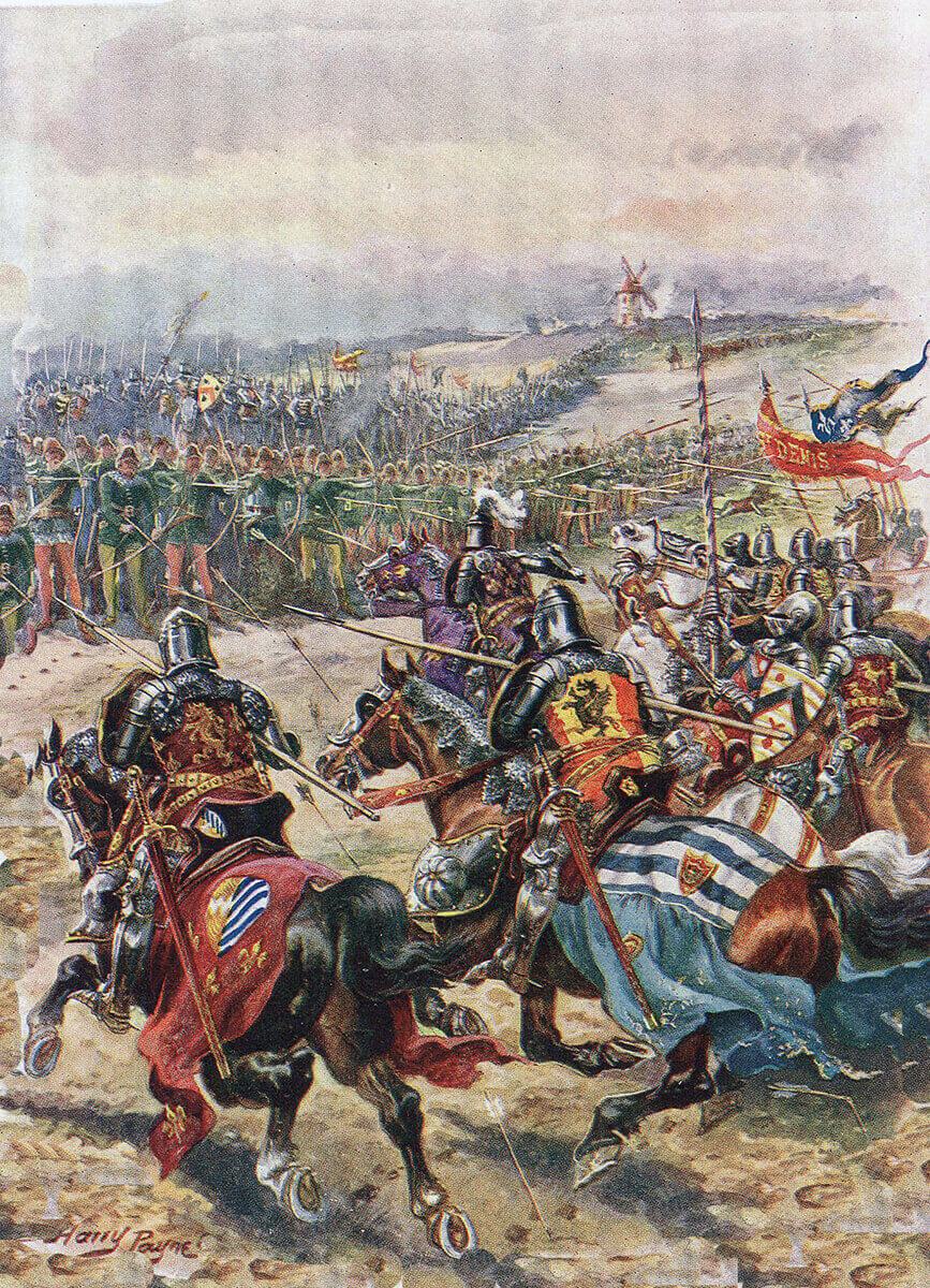 Charge of the French knights at the Battle of Creçy on 26th August 1346 in the Hundred Years War: picture by Harry Payne