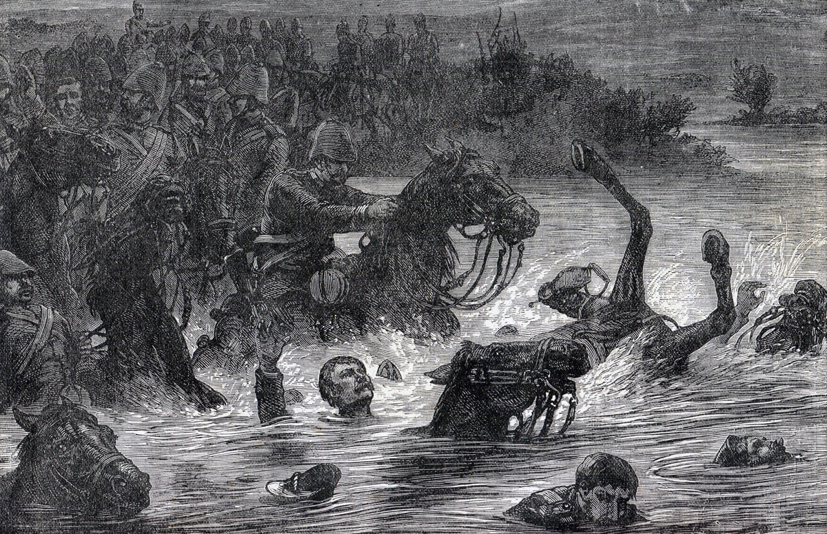 10th Royal Hussars in trouble in the Kabul River on 31st March 1879: Battle of Futtehabad on 2nd April 1879 in the Second Afghan War