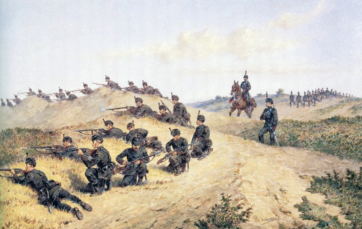 60th Rifles in England: Battle of Gingindlovu on 2nd April 1879 in the Zulu War: picture by Orlando Norie