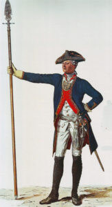 Prussian Infantry Regiment von Kleist No 27: the regiment lost 12 officers and 451 men in the Battle of Kesselsdorf on 15th December 1747 in the Second Silesian War: picture by Adolph Menzel